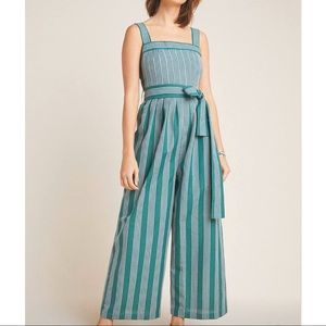 Anthropologie Jumpsuit- Green & White Stripes